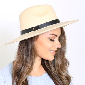 Ivory Brim Hat w/ Leather Strap Accent